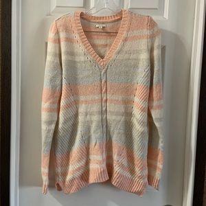 Sonoma Pastel Striped V Neck Sweater Size Large
